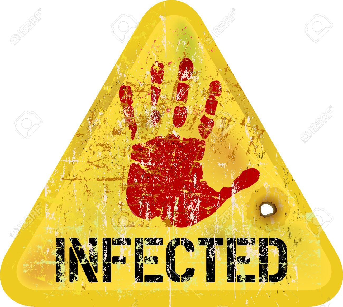 Infection / Computer Virus Warning Sign, Vector Royalty Free.