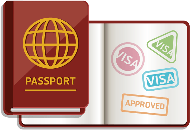 Passport with stamps for entry approved and visa.