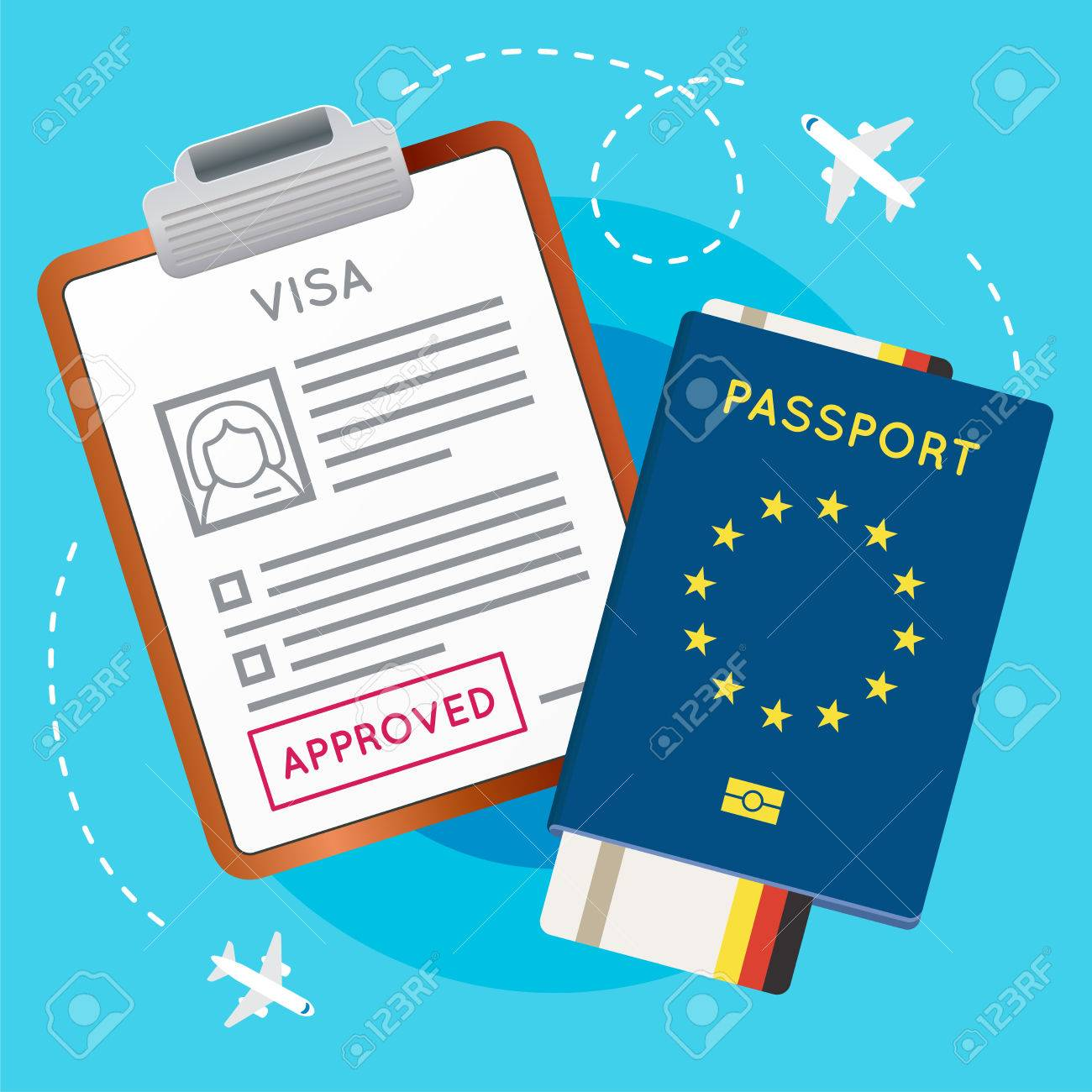 Eurozone Europe Visa Approved Stamp on Document. Passport with...