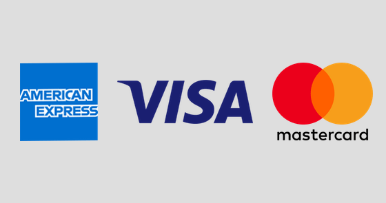 AMEX, VISA and MasterCard.