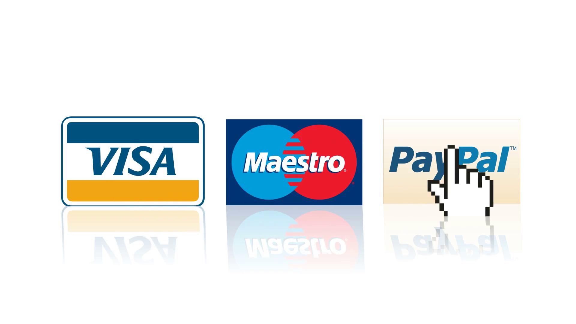 Visa, Mastercard, Paypal logos online shopping payment e.