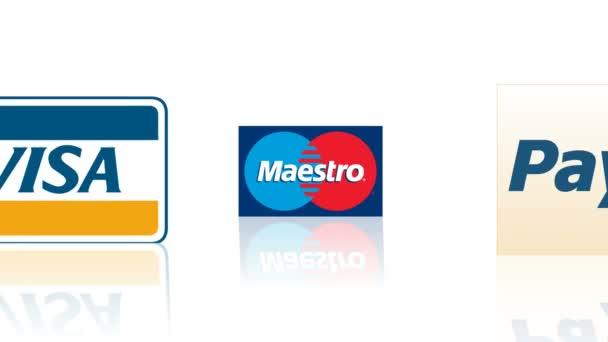 Visa, Mastercard, Paypal logos.