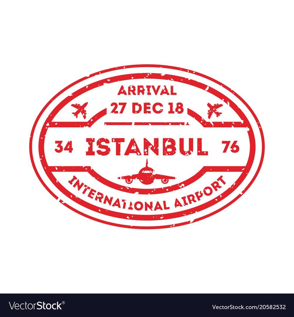 Istanbul city visa stamp on passport.