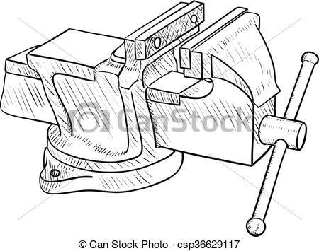 Vector Clip Art of Vise, Hand Tool.