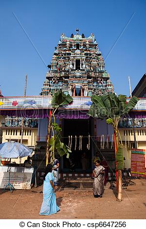 Stock Image of gopuram of Vishnu Temple of Cochin in Kerala state.