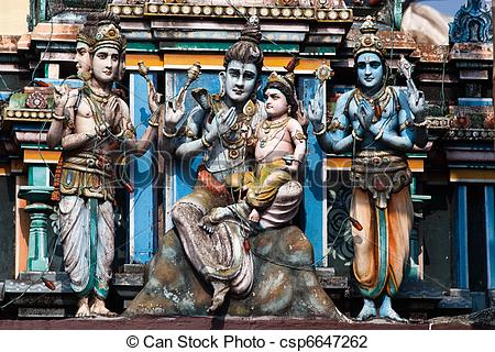 Stock Photography of gopuram of Vishnu Temple of Cochin in Kerala.