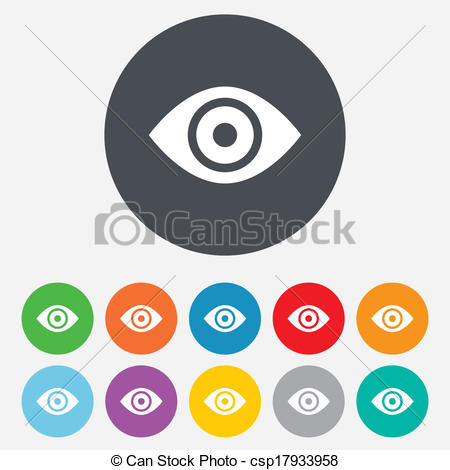 Clipart Vector of Eye sign icon. Publish content button.