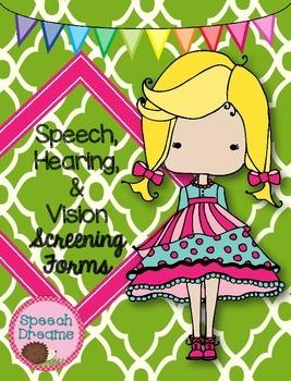 Speech, Hearing and Vision Screening Forms Checklists {SLP School Nurse}  FREE.