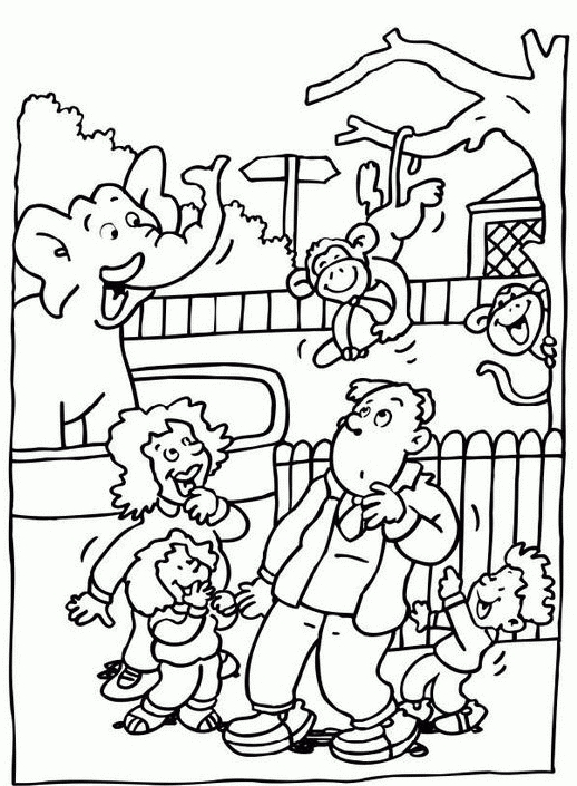 Children At The Zoo Clipart Black And White.