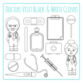 Doctors Visit Black and White Clip Art Pack for Commercial Use.