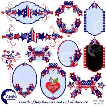 4th of July Clipart, Independance Day Frames and Banners clipart, AMB.