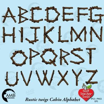 Rustic Wood Alphabet Clipart, {Best Teacher Tools} AMB.