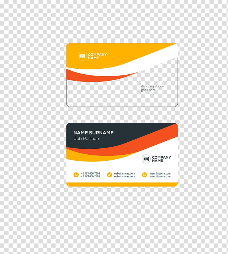 Yellow, white, and red business card illustration, Business.