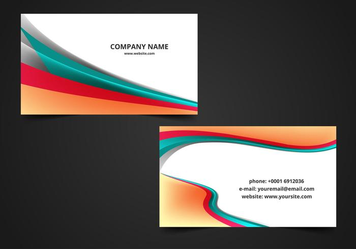 Free Vector Wave Visiting Card Background.