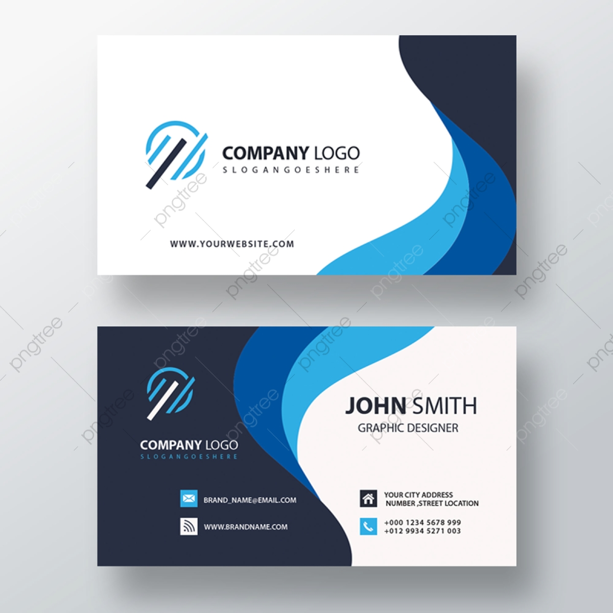 Blue Wavy Business Card, Business Card, Card, Business Cards PNG.