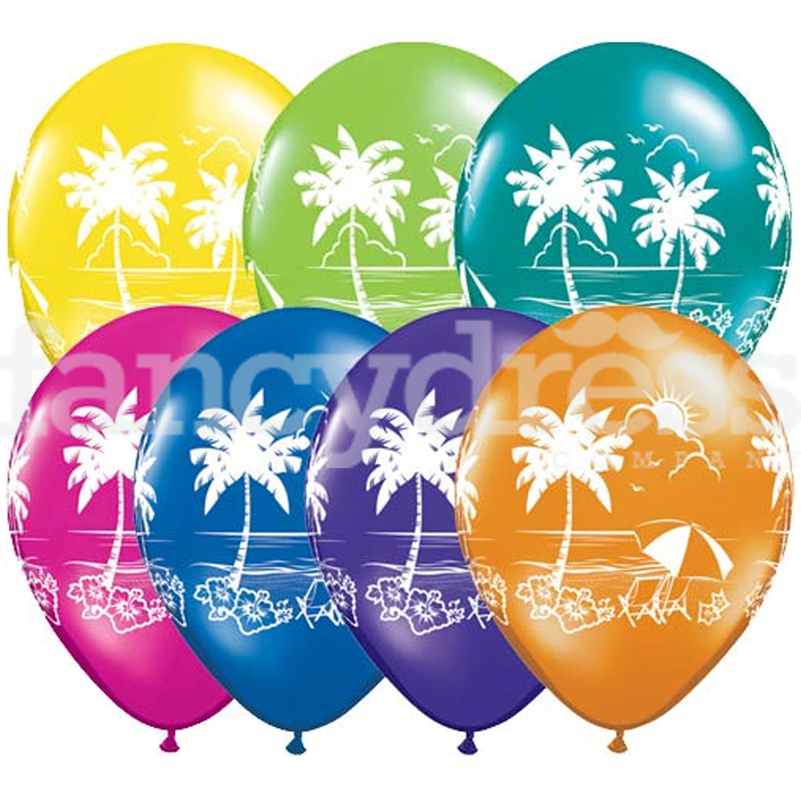 "Pack of 10 Tropical Vista Hawaiian Luau Party 11"" Qualatex Latex."