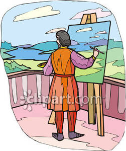 Artist Painting a Vista Royalty Free Clipart Picture.