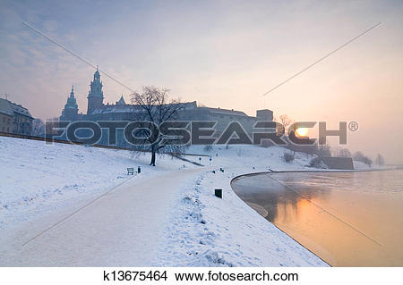 Stock Photo of Historic royal Wawel Castle in Cracow, Poland, with.