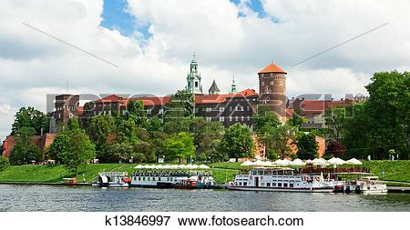 Picture of Wawel Royal Castle and Vistula river in Krakow.