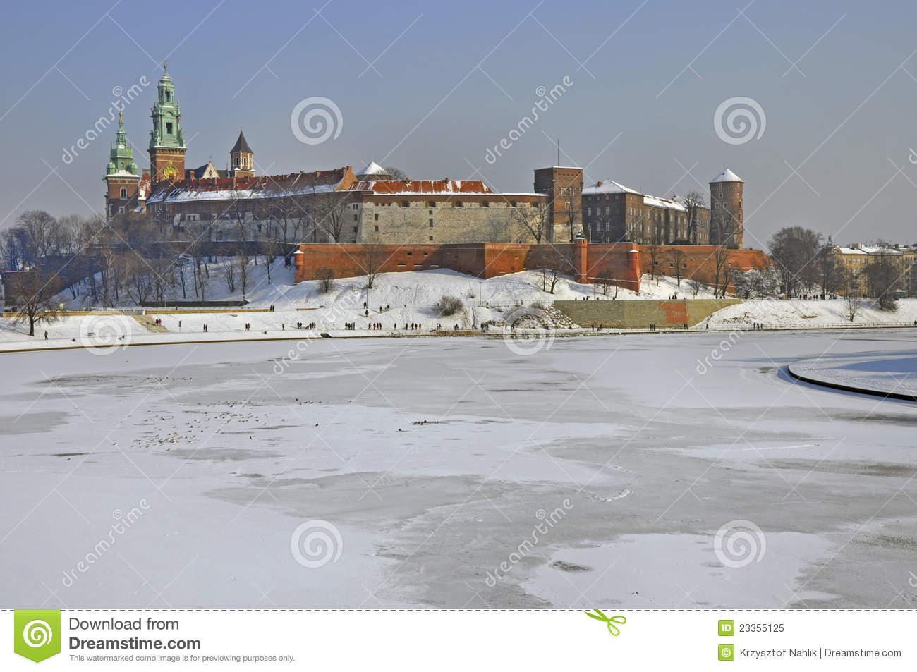 Wawel Castle In Krakow And Vistula River In Winter Royalty Free.