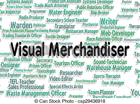 Clipart of Visual Merchandiser Means Job Position And Hire.