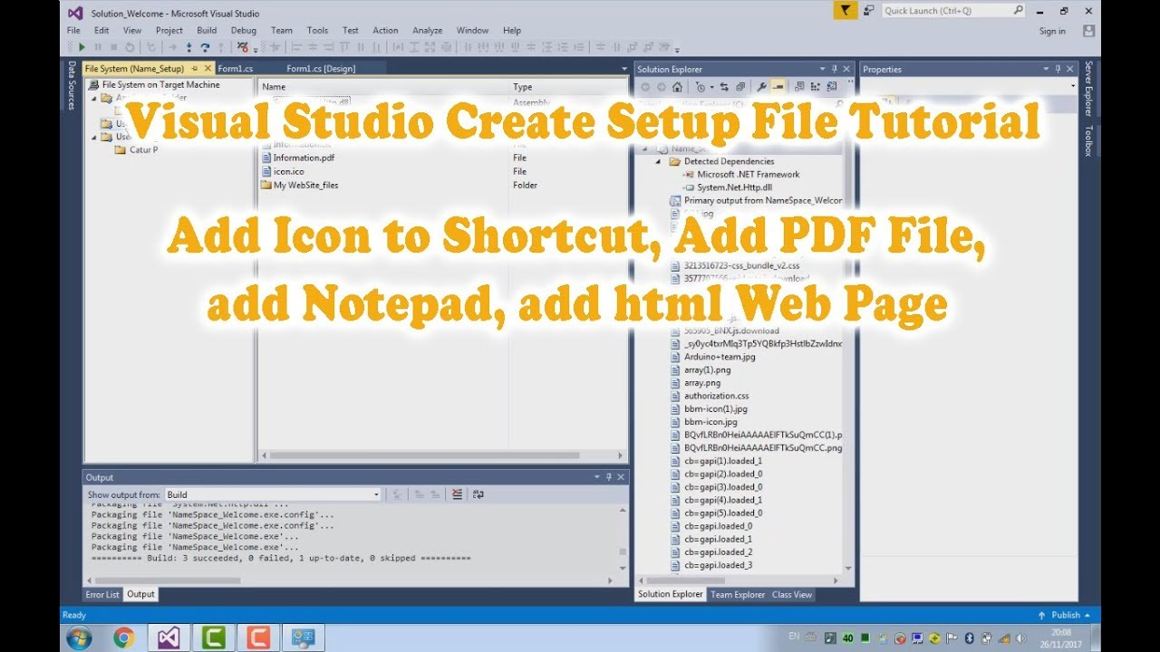 Visual Studio C# Create Setup File tutorial 2.Add an Icon,PDF  File,Notepad,and Html Page.