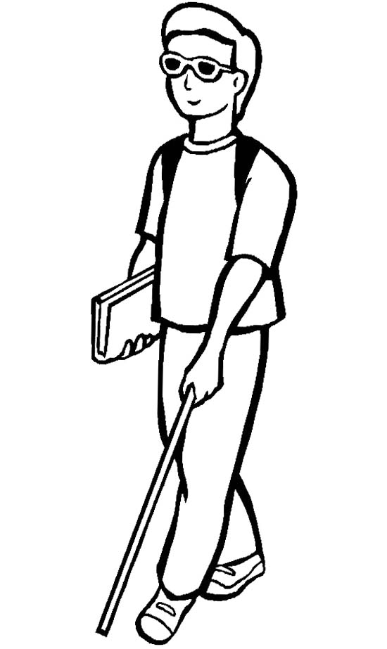 Blind man clipart black and white.