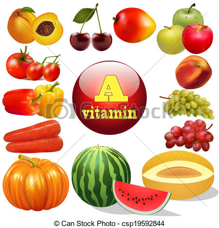Vitamin food items clipart.