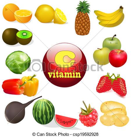 Vitamin C Foods Clip Art.