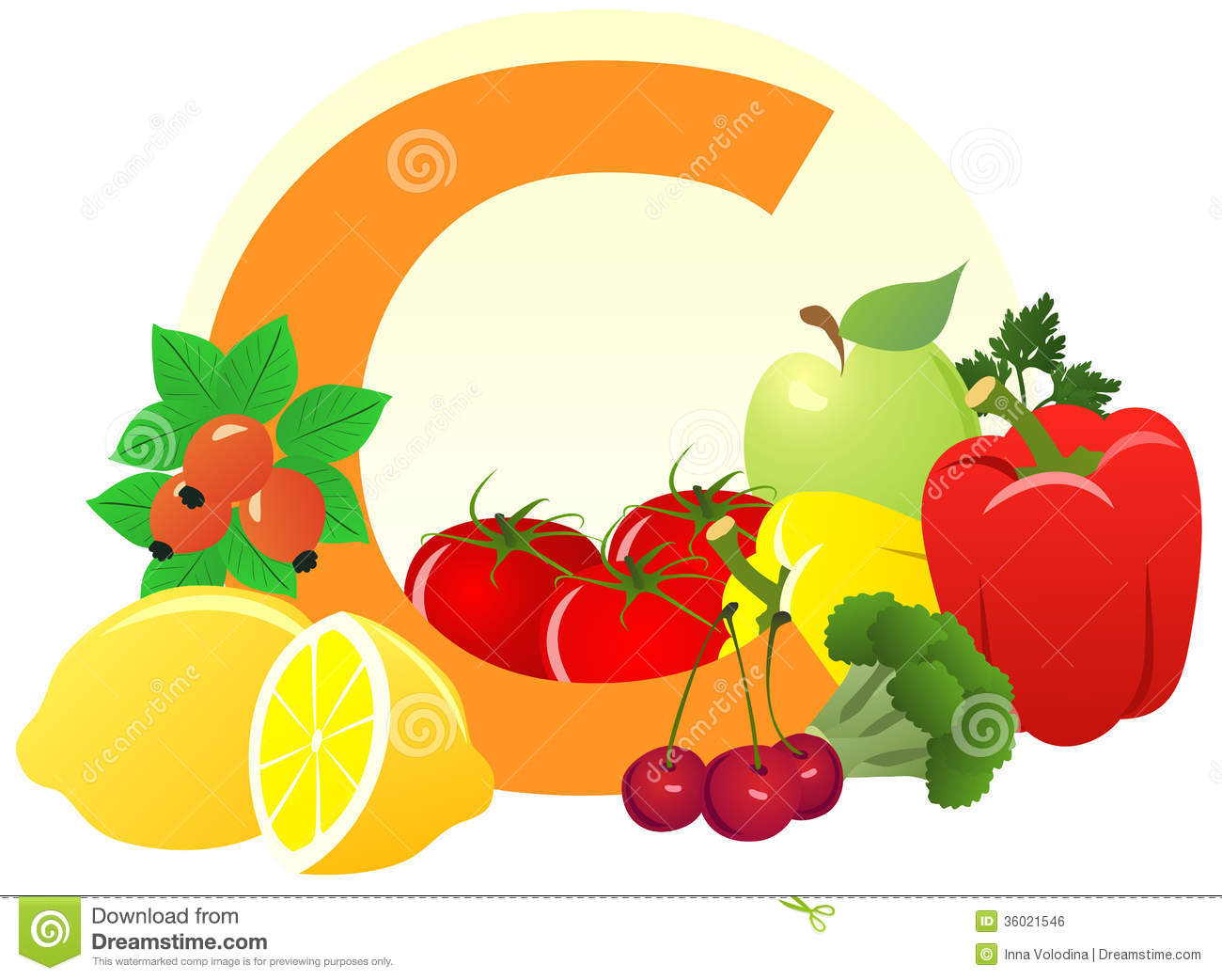 Vitamin c fruits clip art.