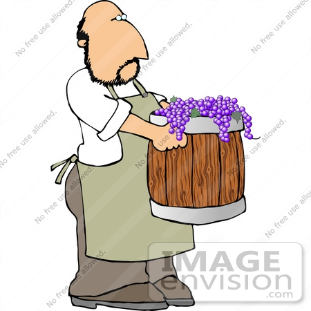 Grape Farmer Carrying a Barrel of Purple Grapes Clipart.