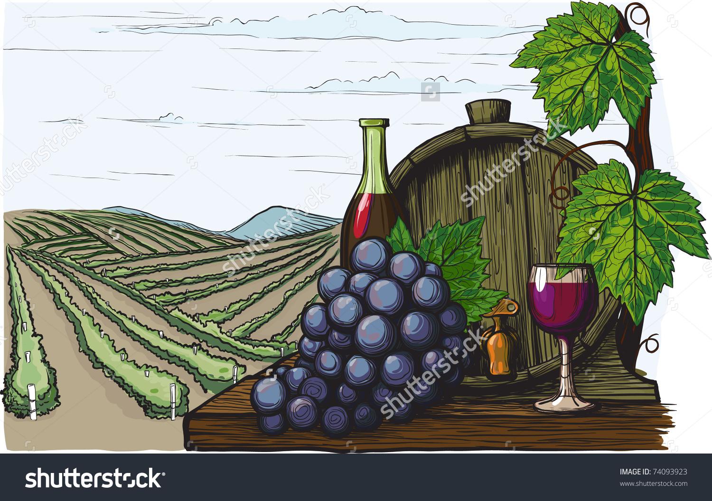 Landscape Vineyards Wine Barrel Grapes Attributes Stock Vector.