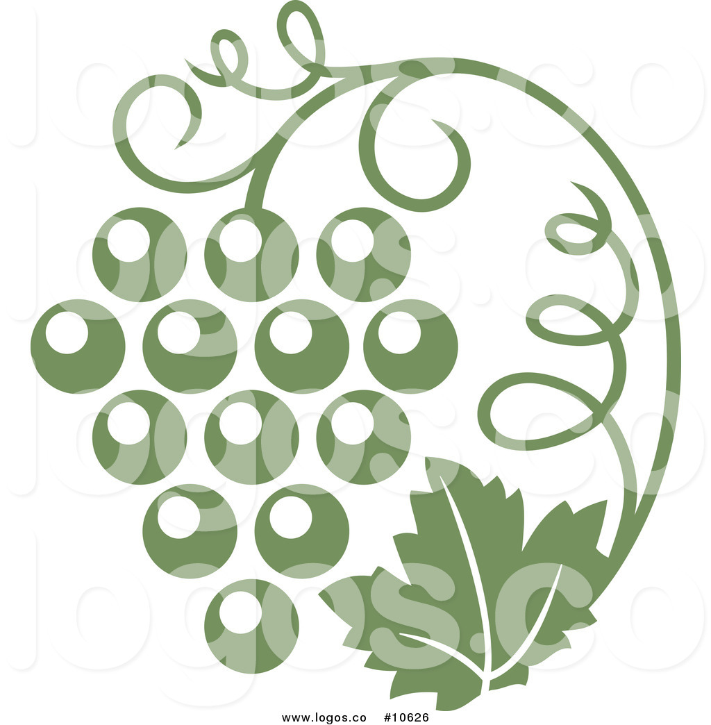 Royalty Free Clip Art Vector Logo of an Olive Green Grape Vine and.