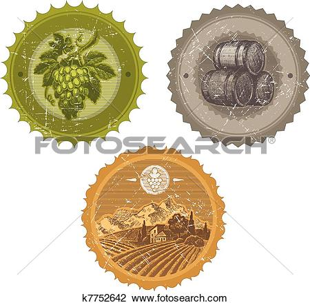 Clipart of Vector vintage labels with hand drawn elements.