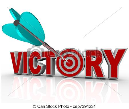 Clipart of Victory Arrow in Word Succeed Triumph in Competition.