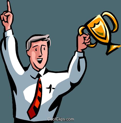 Empresário levantando um troféu na vitória livre de direitos.