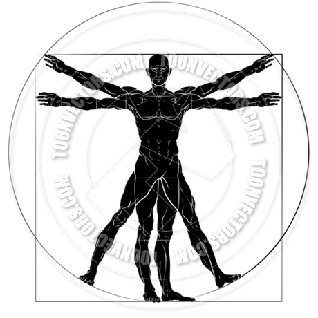 Vitruvian Man Da Vinci Style Figure by GeoImages.