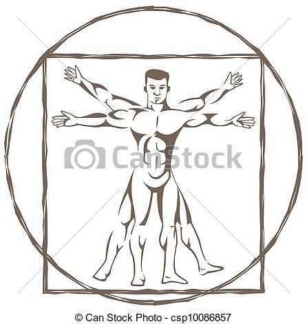 Clipart Vector of vitruvian man csp10086857.