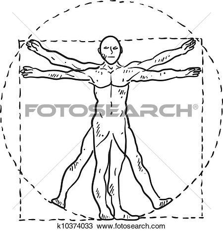 Clipart of Da Vinci Vitruvian man sketch k10374033.