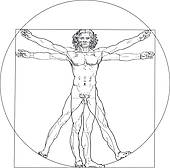 Clip Art of vitruvian man with guitar k4765508.