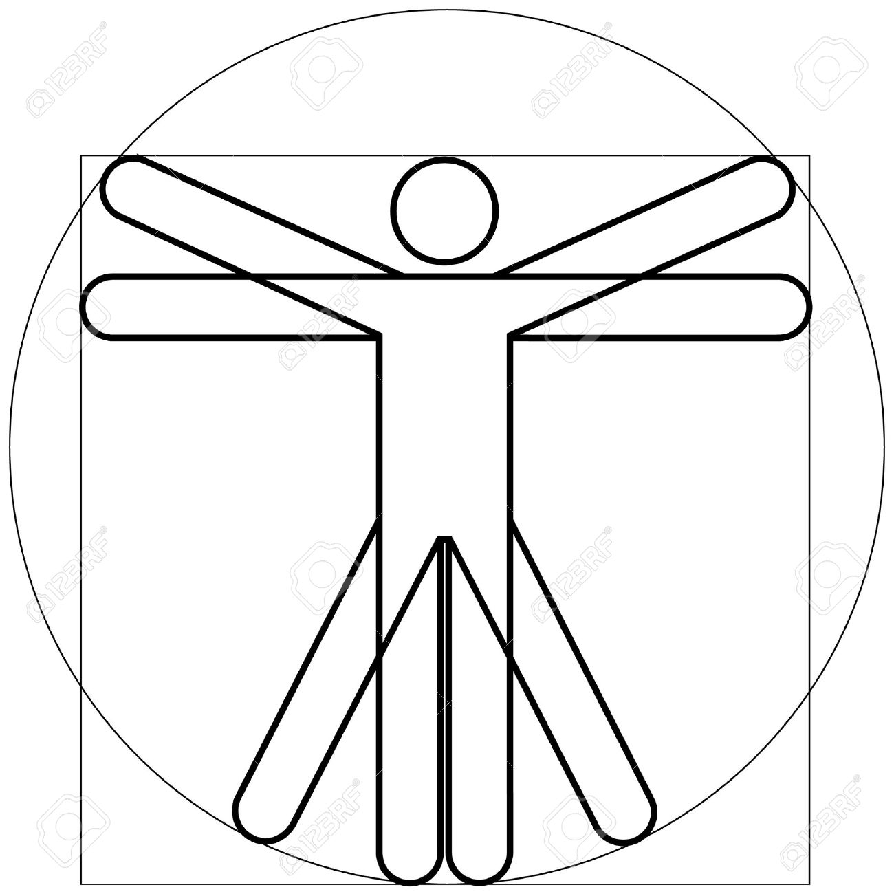 Vitruvian Man As Leonardo Da Vinchi Royalty Free Cliparts, Vectors.