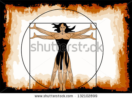Vitruvian Woman Stock Images, Royalty.