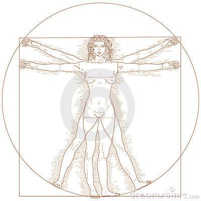 Vitruvian Woman Clipart.