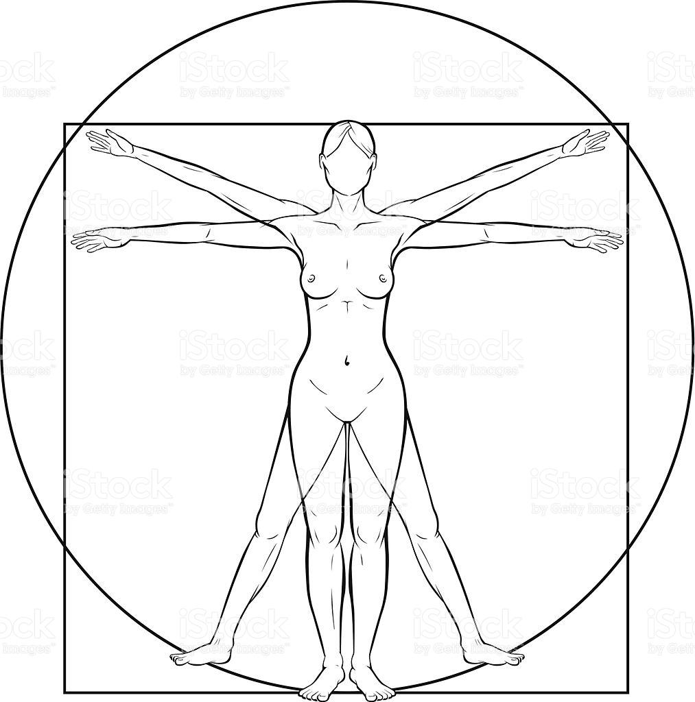 Vitruvian Woman stock vector art 489807893.