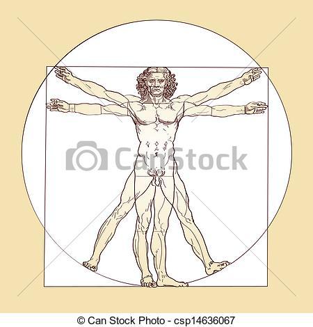 Clip Art Vector of Vitruvian Man Leonardo Da Vinci.