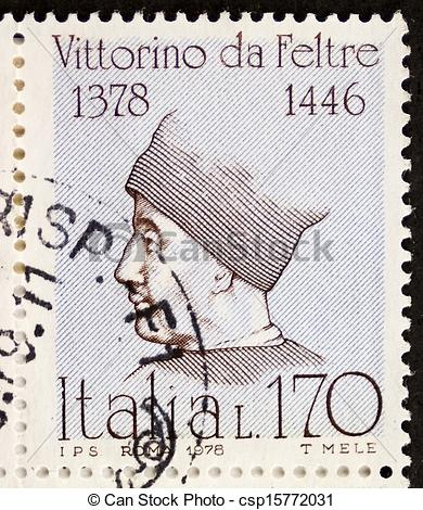 Drawings of Vittorino da Feltre postage stamp.