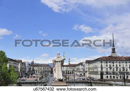 """Stock Photo of """"Piazza Vittorio Veneto and Mole Antonelliana."""
