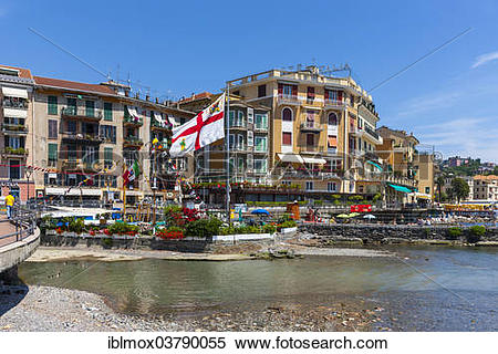 """Stock Image of """"Hotels and sidewalk cafes on the Lungomare."""