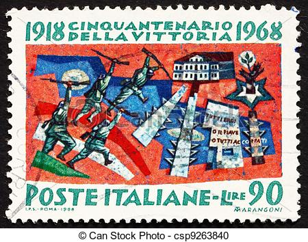 Stock Photography of Postage stamp Italy 1968 Battle of Vittorio.