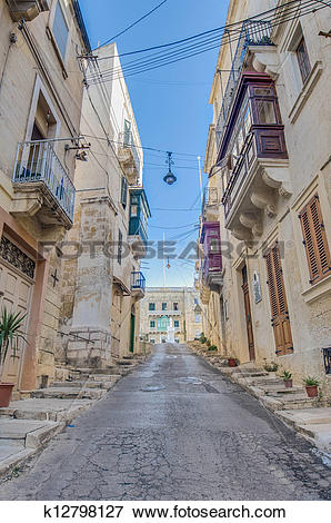 Picture of Southwest Street in Vittoriosa (Birgu), Malta k12798127.